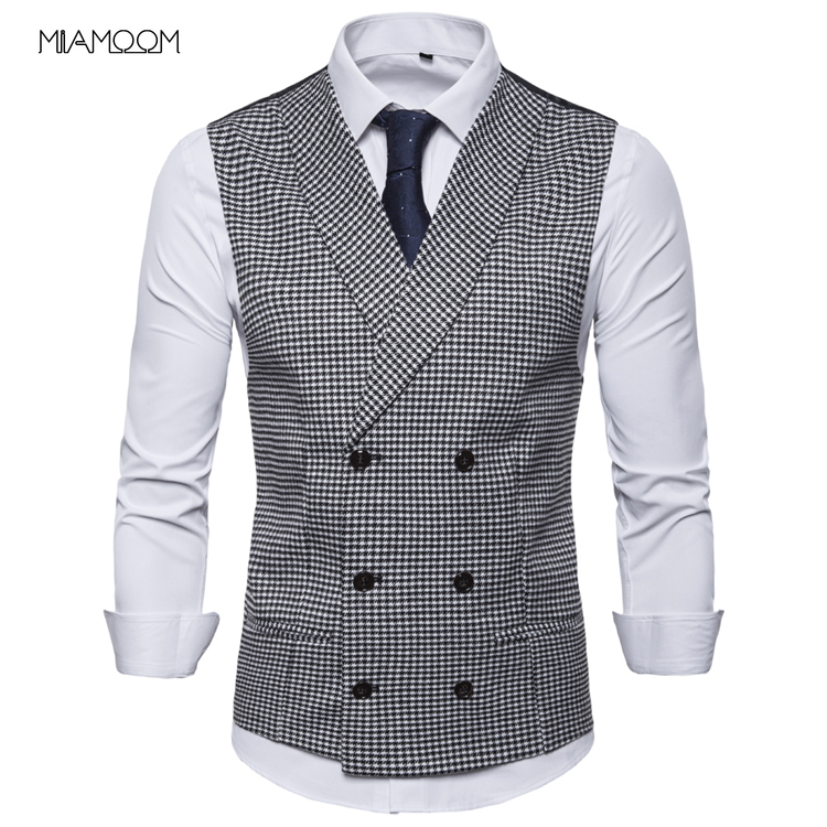 Vests Men New 2019 Men's Casual  British Style Plaid Double Breasted Waistcoat