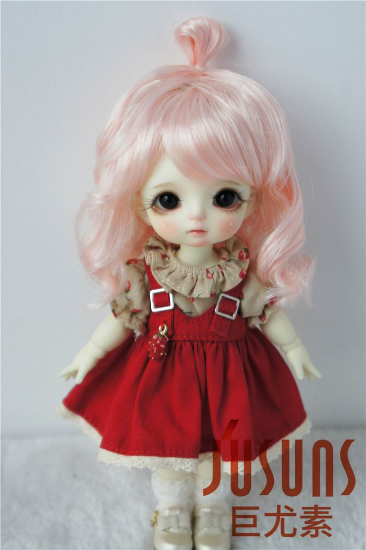 JD375 1/12 1/8 1/6 Lovely Up Style Wave Synthetic Mohair BJD Wig Size4-5inch  5-6 Inch 6-7inch High Quality Doll Accessories
