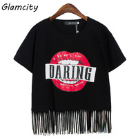 Glamcity Hot Sale Stylish Graphic Tee Red Lips Tassel T Shirt Letter Female Casual Loose Short