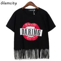 Glamcity Gorąca Sprzedaż Stylowy Graphic Tee Czerwone Usta Pomponem Koszulka List Kobiet Dorywczo Luźne Bawełniane Z Krótkim Rękawem T koszula Lato