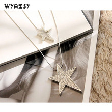 New Hollow Rhinestones Inlaid Pentagram Long Sweater Chain Elegant Necklace Jewelry Crystal Double Stars Gift Wholesale Not Fade