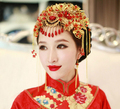 Promotional Chinese Vintage Style Handmade Costume Gold Bridal Headwear Accessories Hair Comb Wedding Hair Jewelry