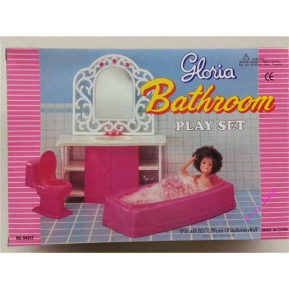 Miniature Furniture Pink Bathroom Set For Barbie Doll House Pretend Play  Toys For Girl Free Shipping