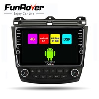 Funrover octa 8 core 2din автомобильный мультимедийный dvd плеер android 8,1 для Honda Accord 7 2007 2003 SIM радио gps навигация стерео DSP