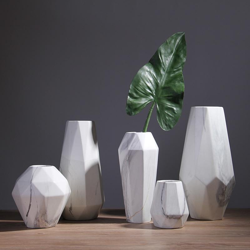 1pc Modern White Marbled Vase Geometric Shaped White Ceramic Flower Vase Tabletop Holder Home Office Decoration, 14/19/29/33cm