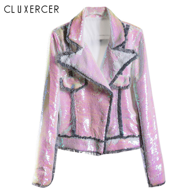 2019 New Women's Spring Jacket High Quality Sequins Female Jacket Streetwear Style Colorful Short Reflective Jacket