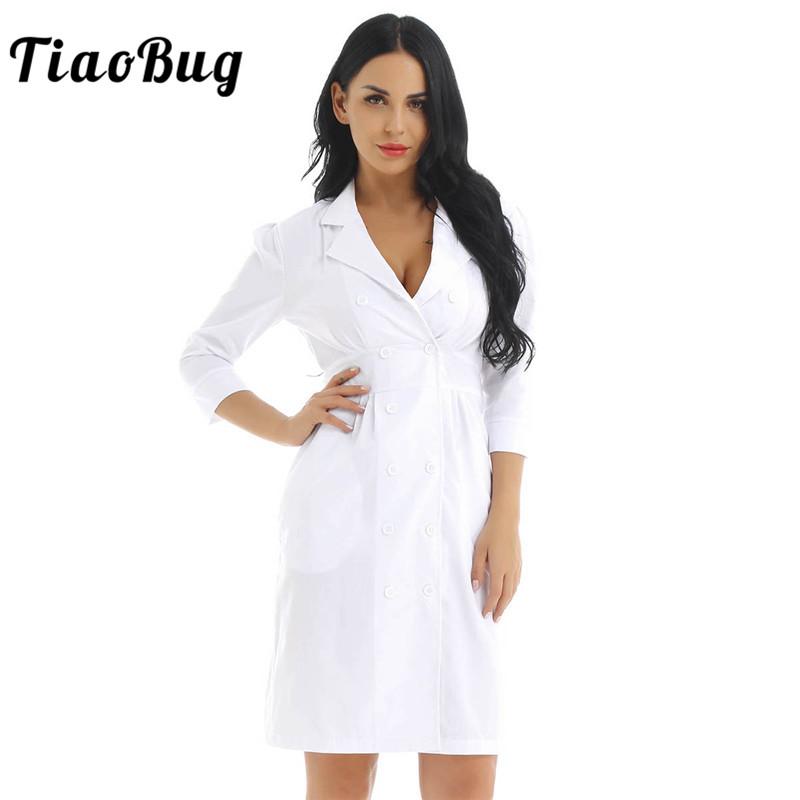 TiaoBug Women Adult Lab Medical Services Coat Doctor Costume Lapel Collar Knee Length White Slim Sexy Nurse Uniform Dress(China)