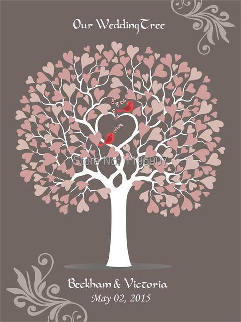 40x60cm 150 Guests Wedding Signature Guest Book Customize Tree Guestbook Love Bird Canvas Prints