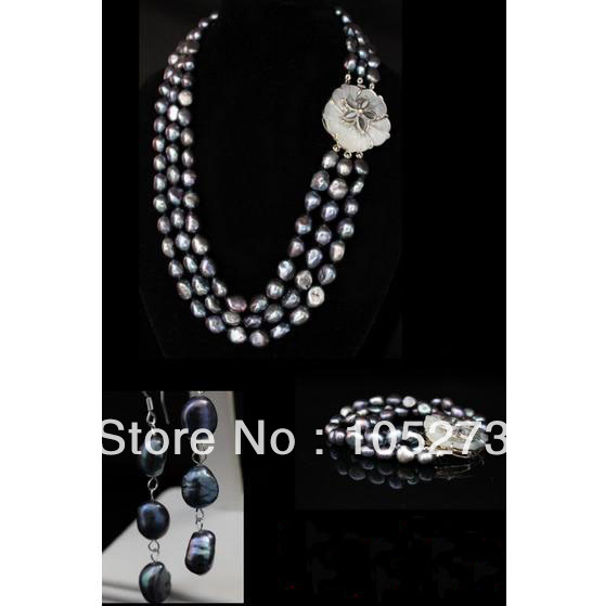 New Arriver Pearl Jewelry Set Natural 11-12MM Grey Black Rich Baroque Shaper Natural Freshwater Pearl Necklace Bracelet Earrings цены онлайн