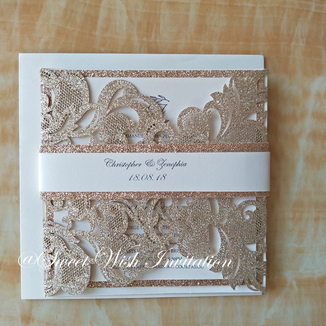 Champagne Gold Personalized Printing Laser Cut Wedding Invitations With Belly Band Lace Birthday Invites Convites 50pcs