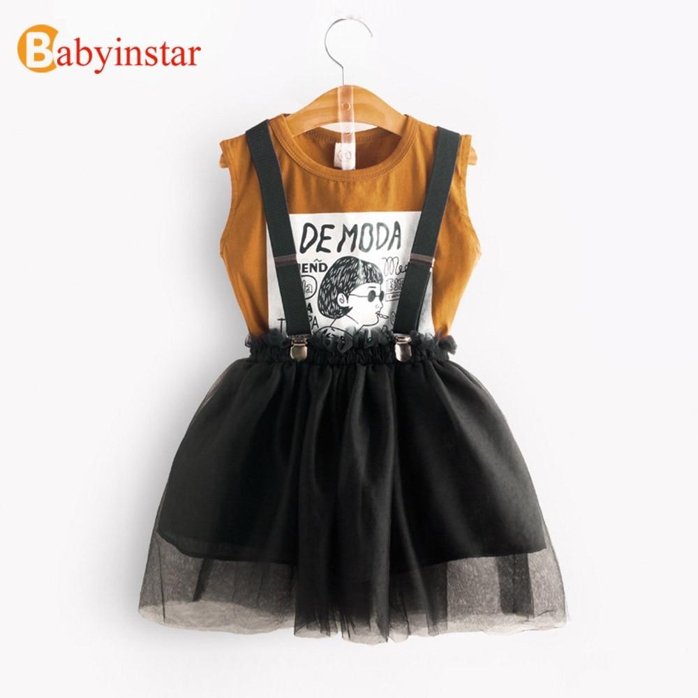 Babyinstar בנות בגדים סטי 2018 חדש קיץ Cartoon הדפסת אפוד חולצה + חמוד נסיכת פאף מסוע חצאית סטי רשת שמלה
