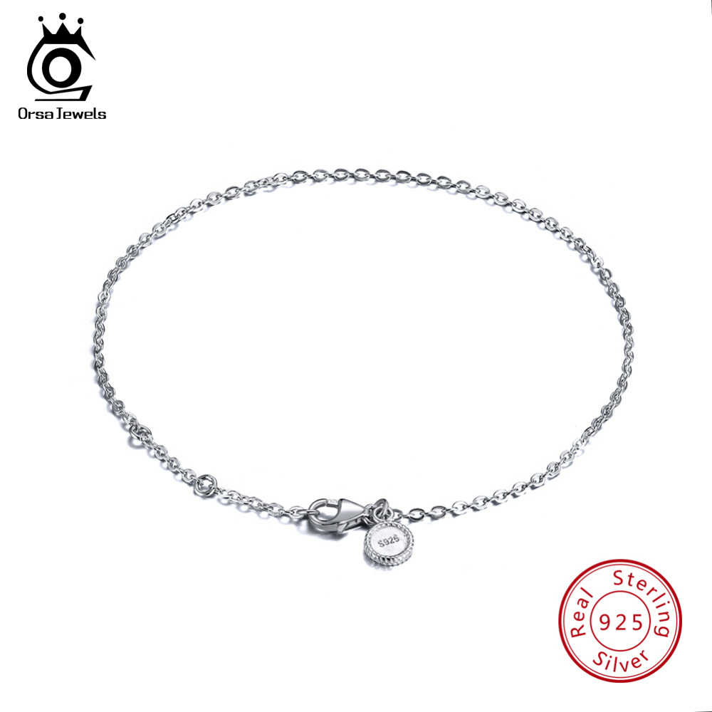 c89bf4ef70d ORSA JEWELS Real 925 Sterling Silver Bracelets Women Perfect Polished  Bracelet Lobster-claw-clasp Fashion Female Jewelry SB29