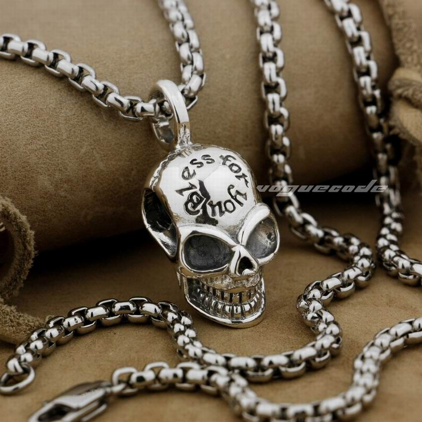 LINSION 925 Sterling Silver Smile Skull Mens Charms Pendant 8Q011 linsion angel bird wing feather 2 side solid 925 sterling silver charms pendant 8a008