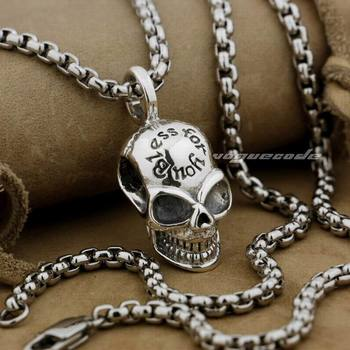 LINSION 925 Sterling Silver Smile Skull Mens Charms Pendant 8Q011