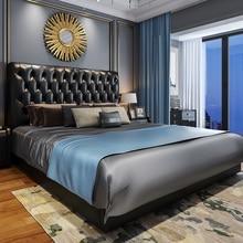 Американский кожаный мастер спальня легкая роскошная кровать Скандинавская кровать современный минималистичный кровать простой европейский двойной кровать 1,8
