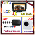 Wholesale 4.3 inch car monitor LED backlight colo for CCD rear view camera & Car Parking sensor 7 Color Radar 4 Sensor System