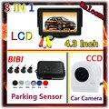Wholesale 4.3 inch car monitor LED backlight colo for CCD rear view camera & Car Parking sensor 7 Color Radar 4 Sensor System