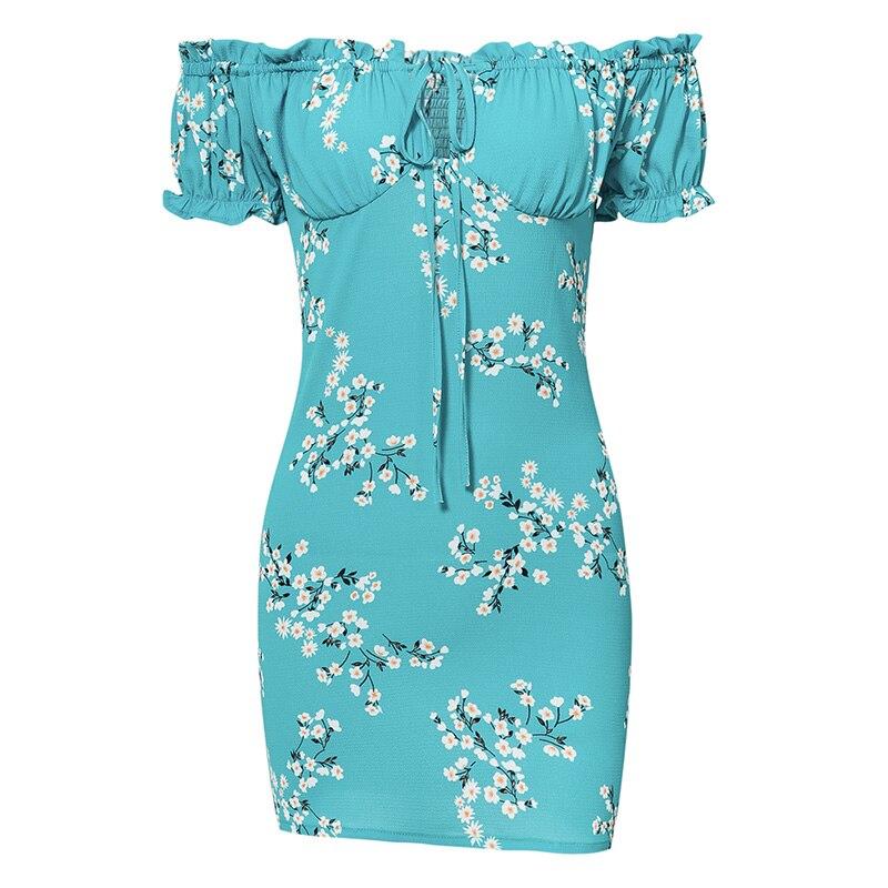 Summer Dress Women Mini Sexy Bodycon Dress Frill Off Shoulder Tie Floral Print Beach Dress Sundress Short Sleeve Ladies Dresses