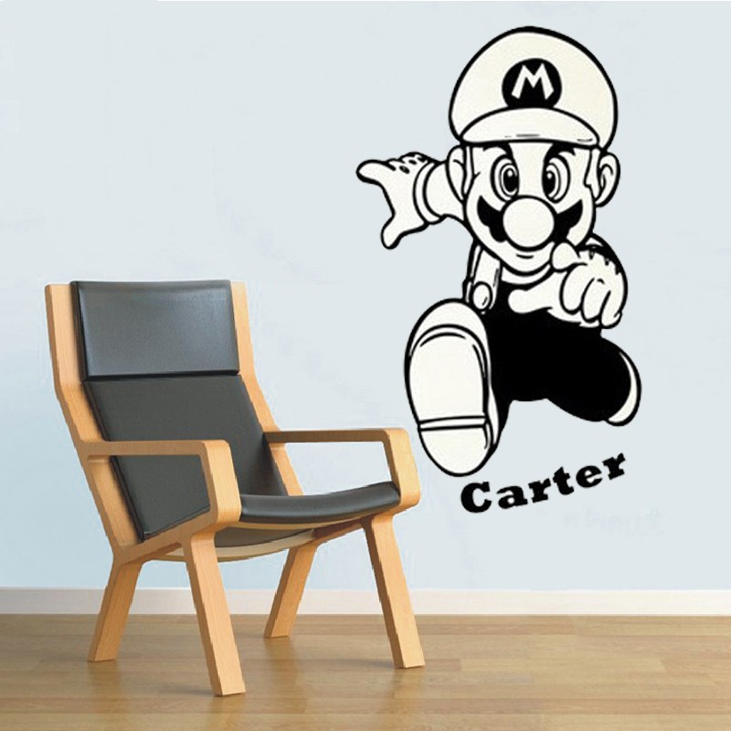 US $6.23 22% OFF|Super Mario Cartoon Wandaufkleber Mit Personalisierte Name  Wandtattoo Kinder Kindergarten Schlafzimmer Dekorative in Super Mario ...
