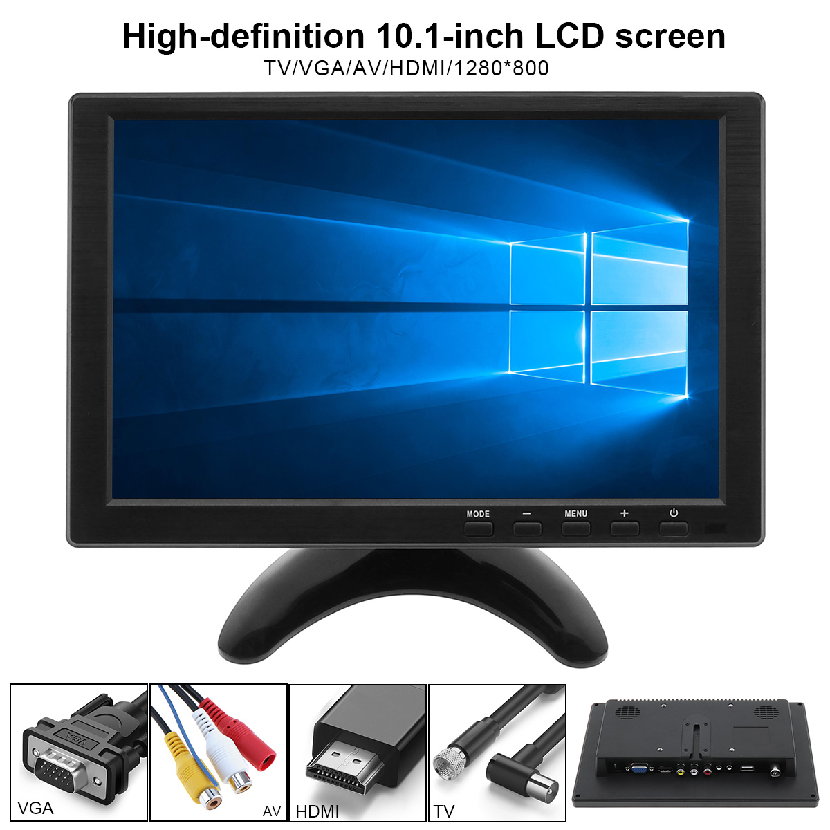 10.1 Inch Multifunction HD Car Headrest Monitor TFT LCD HD Digital Screen support HDMI / VGA / AV / USB / TV цена 2017