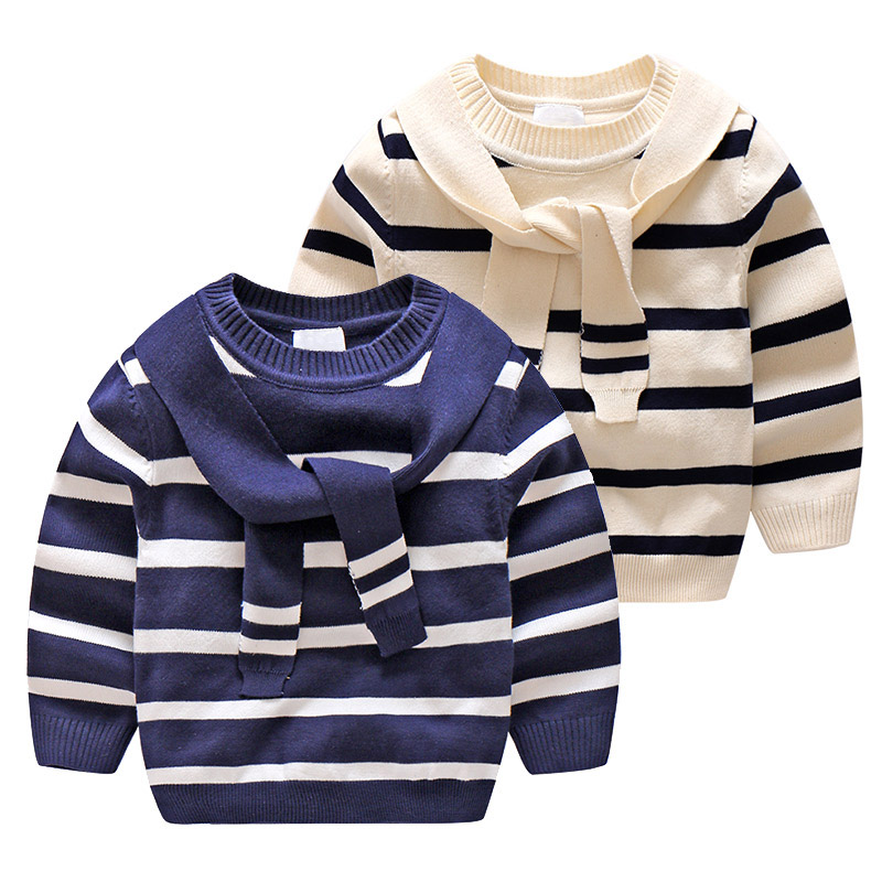 Kids Autumn Winter Sweater Boys Long Sleeve Patchwork Preppy Style Clothes Baby Boys Girls Soldier Sweater Navy Blue and Beige db4916 dave bella spring fall baby girls navy striped sweater boys navy star embroidery sweaters stylish sweater
