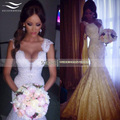 Cap Sleeves Beaded Mermaid Sexy Lace Wedding Dress 2017 Cheap Robe De Mariage Bridal Gown Vestidos De Novia Casamento SLW123