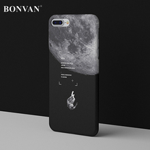 BONVAN Fashion Case For Apple iphone 8 Case Cartoon Moon Matte Hard PC Phone Case Cover For iphone 8 Plus Black Starry Sky Coque(China)