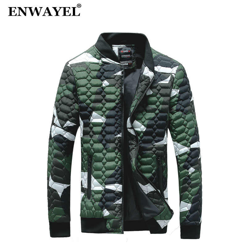 ENWAYEL 2018 Autumn Winter Camouflage Slim Jacket Men Quilted Padded Wadded Windbreaker Male Mens Jackets Coat Parkas Overcoat