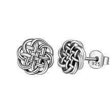 Серебряные серьги EUDORA с натуральным 925 пробы, серьги-гвоздики с узлом в виде цветов, треугольные серьги, модные Висячие серьги для женщин, ювелирное изделие, подарок CYE69