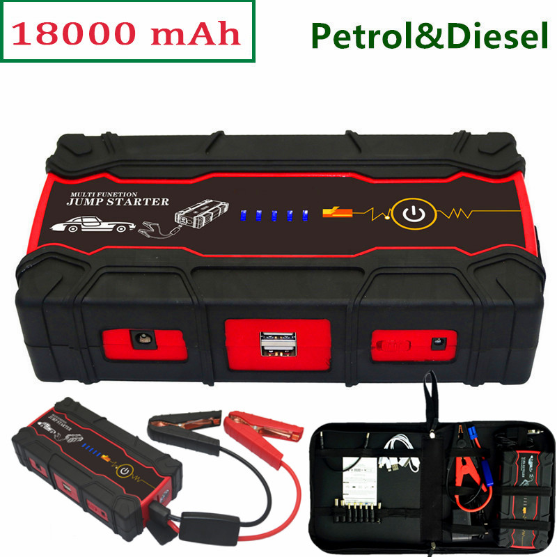 High Power Car Jump Starter Portable Power Bank 800A Peak 12V Car Charger for Car Battery Booster Diesel Starting Device Auto 2017 hot high capacity 12v petrol diesel car jump starter 600a peak car battery charger mini 4usb power bank sos light free ship