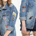 Vintage Women Long Sleeve Coat Slim Denim Short Casual Jean Jacket Outerwear Patch denim jacket Lady's casual Free shipping