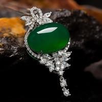 3.7cm*2.1cm famous brand Necklace Korean female green key shape butterfly Chrysoprase simple pendant birthday gift girlfriend