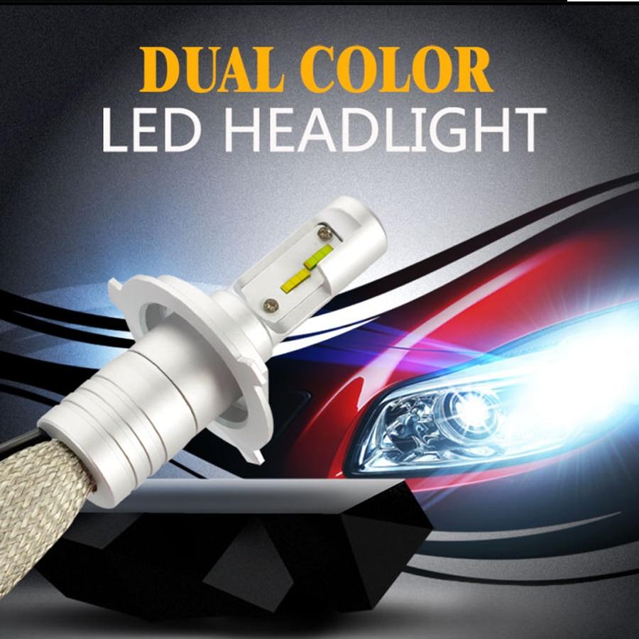 Auto Led Light Dual Color H1 H4 H7 9005 9006 H11 9012 H15 Car Driving Fog Lights 40w 4000lm Headlights 3000k 6000k Bulbs