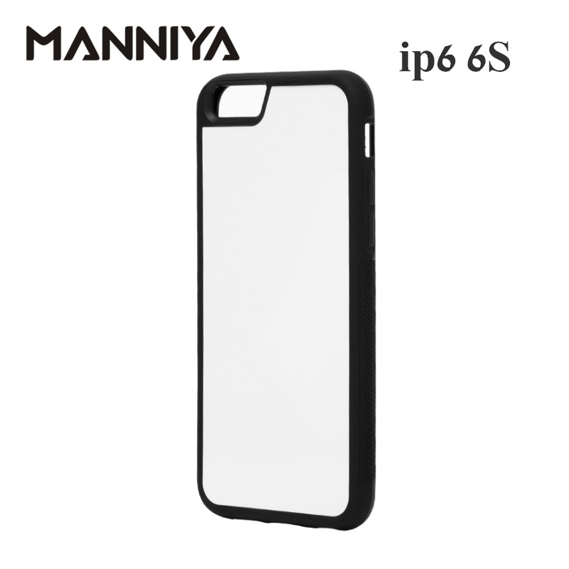 MANNIYA Blank 2D Sublimation TPU+PC rubber Case for iphone 6 6s with Aluminum Inserts Free Shipping! 100pcs/lot
