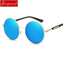 f22346bf9caa2 SIMPRECT Retro Rodada Óculos De Sol Das Mulheres 2018 UV400 Espelho do  Metal Óculos de Sol Da Moda Marca Designer Vintage óculos.