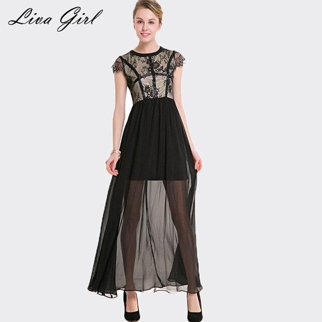 Liva girl кружева лето 2017 новый сексуальный шить шифон dress круглым воротом без рукавов платья для женщин