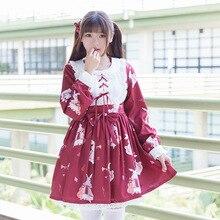 2019 New Spring Summer Girls Lolita Kawaii Cosplay Dress Pattern Musician Rabbit Cute Red / White
