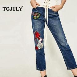 TCJULY весенние модные женские рваные джинсы промывают джинсы с вышивкой Женские бойфренды уличная Свободные повседневные лоскутные