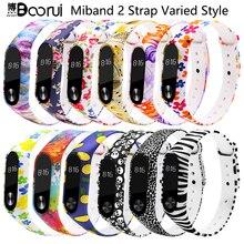 BOORUI Miband 2 אביזרי mi band 2 רצועה בצבע מיוחד סיליקון רצועת חגורת עבור Xiaomi Mi Band 2 חכם צמידים smartband