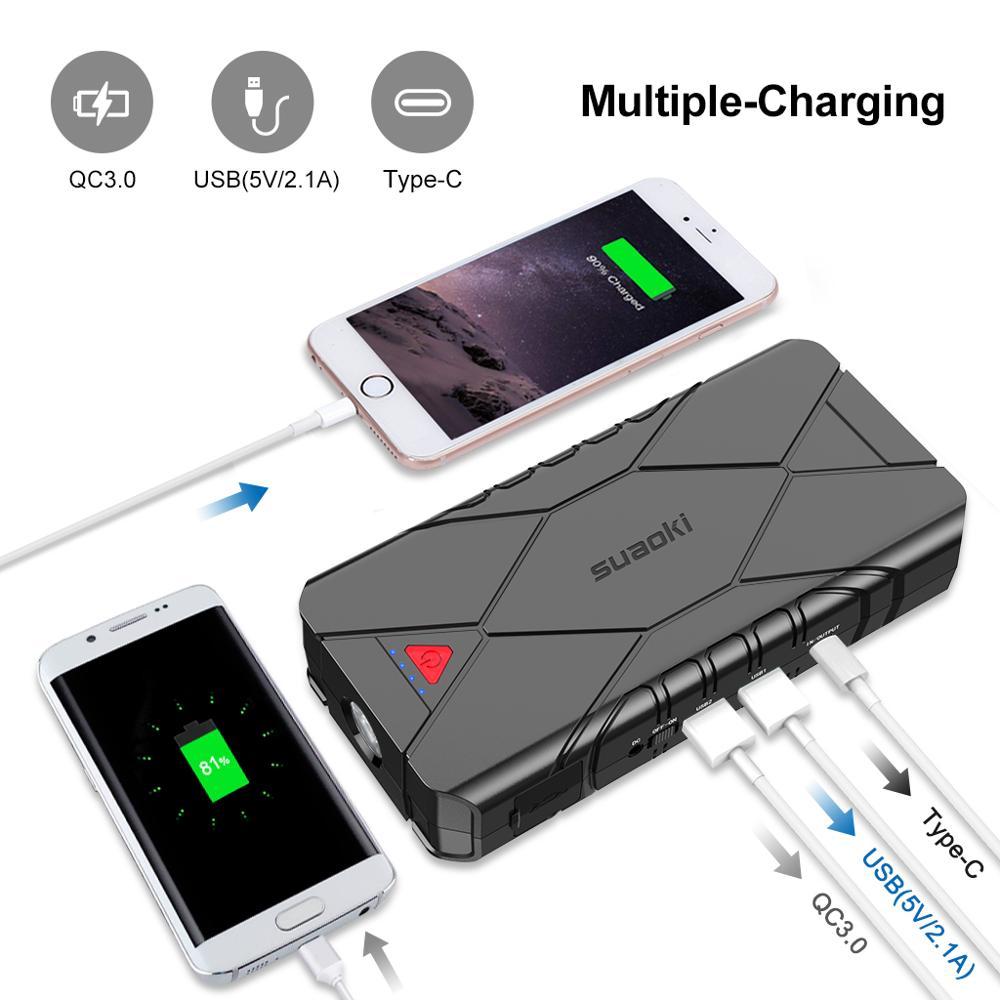 Suaoki 3 в 1 перезаряжаемый автомобильный стартер для подзарядки USB QC 3,0 Type C для зарядки телефона, светодиодный фонарик, аккумулятор 16000 мАч - 3