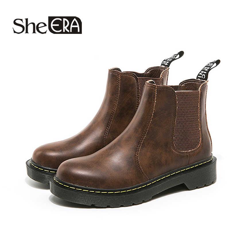 Neue Mode Frauen Stiefel Schwarz/Braun Chelsea Stiefel Frauen Stiefeletten Runde Kappe Nähen Stiefel Klassische Frauen Schuhe Sie ÄRA