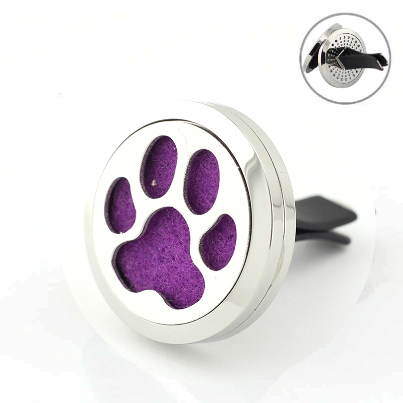 30mm Stainless Steel Dog Paw Lover Home Car Aromatherapy Essential Oil Diffuser Vent Clip