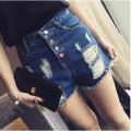 Fashion 2016 Summer Women New High Waist Denim Shorts Frayed Hole Female Super Cool Fashion Shorts Free Shipping
