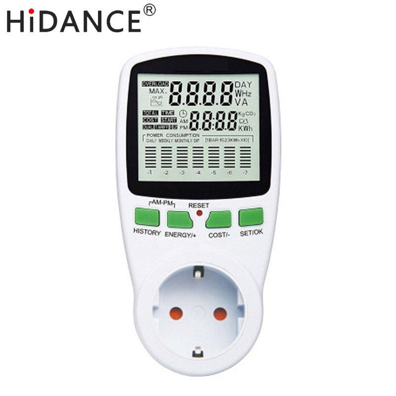 Medidor de potencia de CA de HiDANCE 220 V digital wattmeter medidor de energía de la UE monitor de vatios Diagrama de costes de electricidad medidor de enchufe