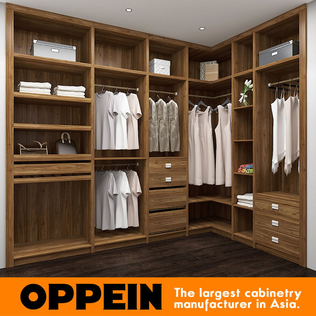 2016 New Design Oppein Melamine Material Modern bedroom wardrobe ...