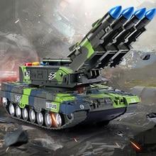 Вращающийся на 360 ° детский игрушечный танк, имитационная модель, тигр, военный бронированный танк с ракетами, модель автомобиля, звучащая светящаяся игрушка, подарок для мальчика