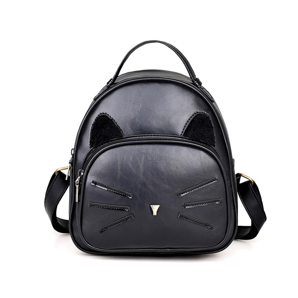 Korean Backpack Women PU Leather Cat Backpack Multifunction Black Brown Cat Ladies Backpack Girls Travel Back Pack