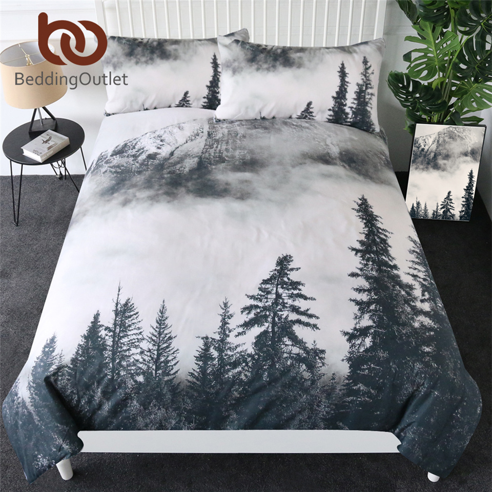 BeddingOutlet Forest Bedding Set Coniferous Tree Duvet Cover Foggy Mountain View Bedspreads Nature Beauty Luxury Bed Set 3-Piece