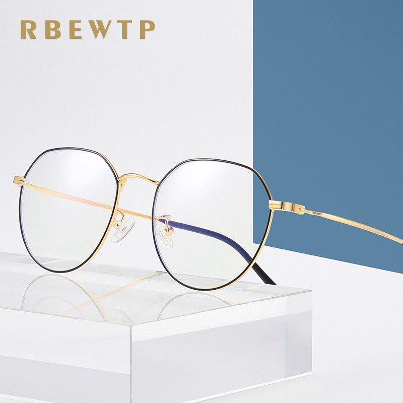 In Rbewtp Rose Gold Oval Frame Anti Blue Light Blocking Glasses Led Computer Reading Glasses Radiation-resistant Gaming Eyewear Exquisite Workmanship