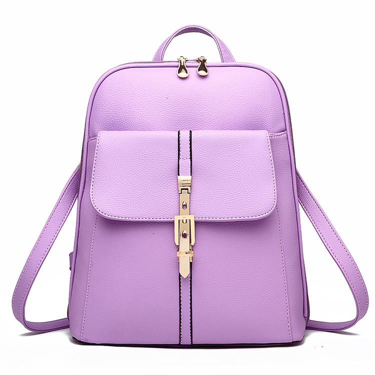 2016 Women Stylish Backpacks Fashion Leather School Bag Solid Travel Bag  For Girls Ladies Students Hot High Quality Sac A Dos-in Backpacks from  Luggage ... 1aa133c408eaa